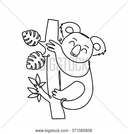 Cute Panda Sits On A Eucalyptus Tree. The Picture Is Drawn In An Infinite Single Line. Vector Linear