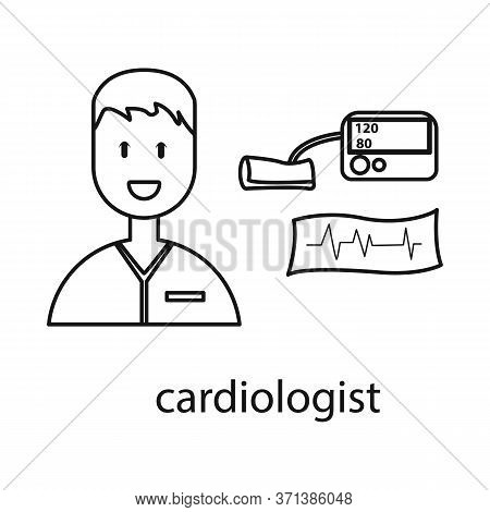 Vector Illustration Of Cardiologist And Cardiovascular Logo. Set Of Cardiologist And Cardiac Stock V