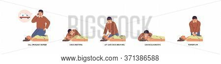 Set Of Stages To Perform Emergency First Aid Vector Flat Illustration. Instruction To Medical Cardio