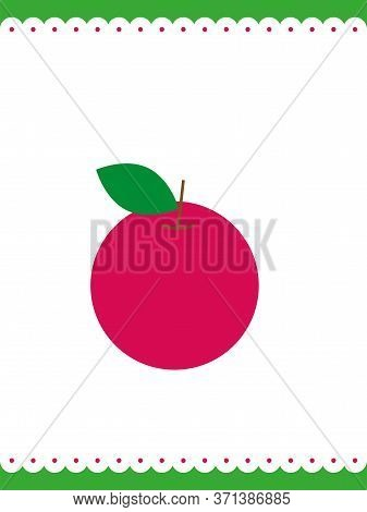 Cute Garden Summer Apple. Nature Inspiration Flat Simple Stylish Vector Background, Swedish Style
