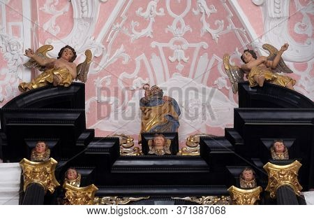 ZAGREB, CROATIA - SEPTEMBER 26, 2018: Saint Peter the Apostle, altar of Saint Dionysius in the Church of Saint Catherine of Alexandria in Zagreb, Croatia