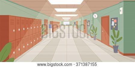 Colorful School Corridor With Window, Doors And Cupboards Vector Illustration. Empty College Hallway