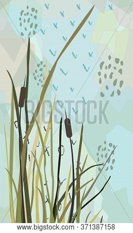 Sweet Pattern With Reed Hand Drawn Scandinavian Style.