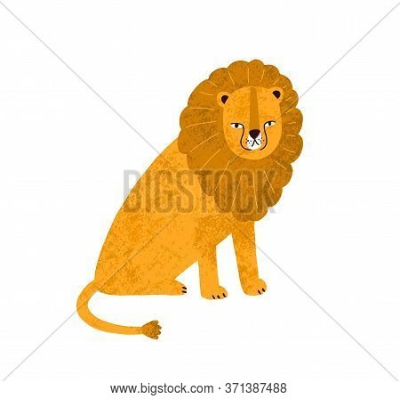Colorful Cute Hand Drawn Lion With Big Mane Vector Flat Illustration. Funny Wild Exotic Carnivorous