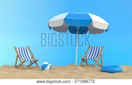 Beach Umbrella With Chairs And Beach Accessories On The Bright Blue Background. Summer Vacation Conc