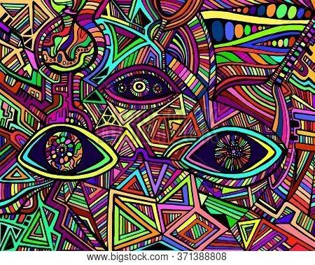Psychedelic Shamanic Variegated Eyes Crazy Patterns. Fantastic Art With Decorative Eyes