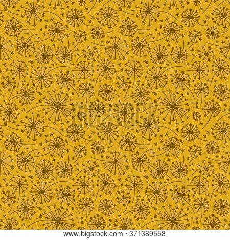 Dandelion Seamless Pattern. Dandelions Grass Pollen Plant Seeds Blowing Tranquil Wind Fluff Flower T
