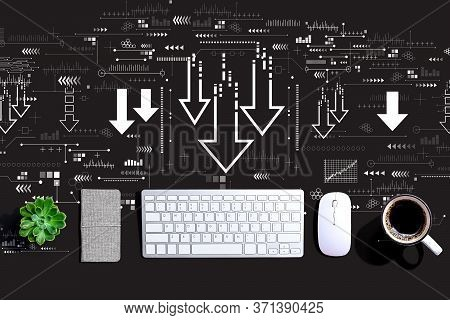 Descending Arrows With A Computer Keyboard And A Mouse