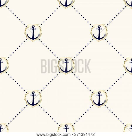 Vector Seamless Elegance Pattern With Anchors In Golden Frames And Polka Dot. Nautical Background In