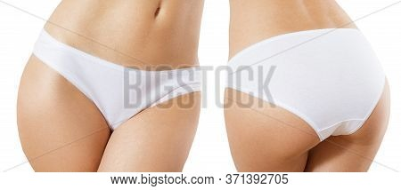 Panties Set - Woman Wearing Cotton Panties Close Up. Female Underwear Made From Natural Organic Mate