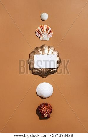 Shells In A Row And Empty Business Card. Summer Trendy Flat Lay On Warm Ochre Orange Background. Mod