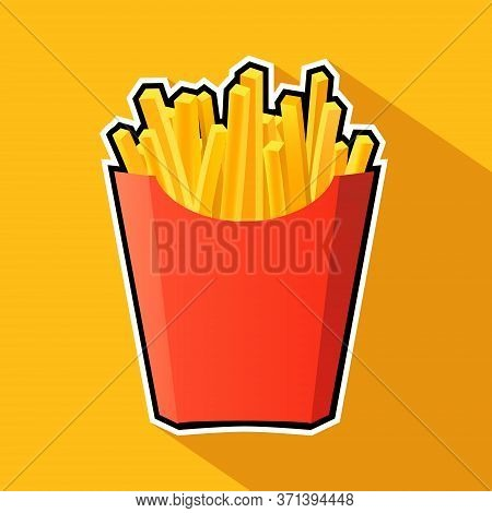 French Potato Pack Box. Cartoon Fastfood Fry Potato Isolated Illustration
