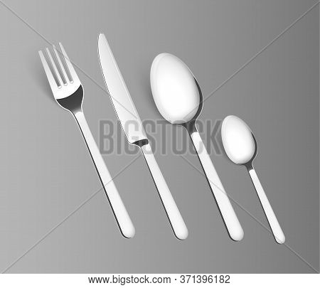 Silverware Fork Spoon Cutlery Isolated Vector Metal Set. Knife Silver Steel Kitchen Tableware