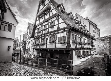 Half-timbered Crooked House In Black And White, Ulm, Germany. It Is Tourist Attraction Of Ulm Locate