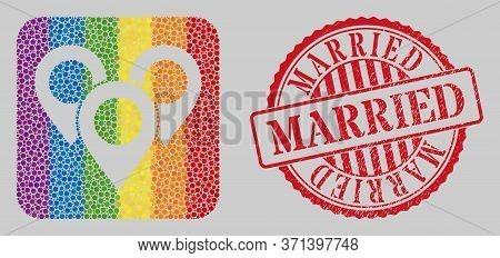 Scratched Married Seal And Mosaic Map Marker Group Subtracted For Lgbt. Dotted Rounded Rectangle Mos