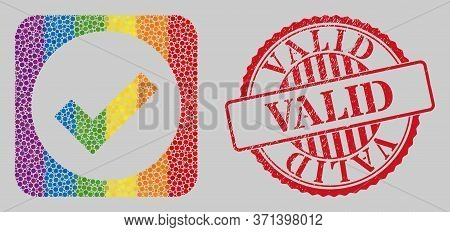 Grunge Valid Seal And Mosaic Valid Stencil For Lgbt. Dotted Rounded Rectangle Mosaic Is Around Valid