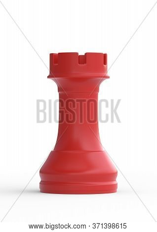 Realistic Chess Red Rook Gaming Figure For Strategic Business Game Or Hobby Leisure. Chess Game Figu