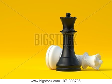Black And White Queen Chess Piece Isolated On Pastel Yellow Background. Chess Game Figurine. Chess P