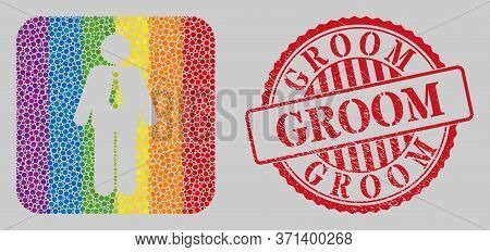 Grunge Groom Stamp And Mosaic Groom Stencil For Lgbt. Dotted Rounded Rectangle Mosaic Is Around Groo