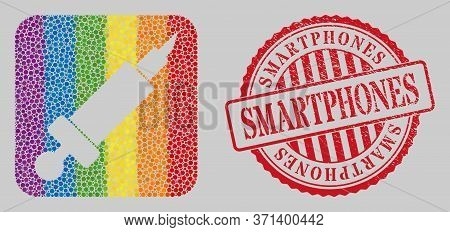 Distress Smartphones Stamp Seal And Mosaic Syringe Stencil For Lgbt. Dotted Rounded Rectangle Mosaic