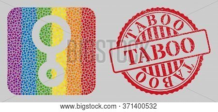 Distress Taboo Watermark And Mosaic Third Gender Symbol Subtracted For Lgbt. Dotted Rounded Rectangl