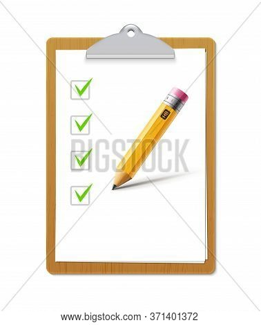 Paper Sheet Document Note Holder. Empty Vector Page Isolated A4 Clipboard