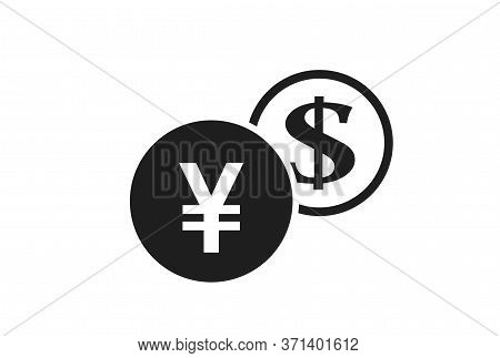 Japanese Yen To Dollar Currency Exchange Icon. Money Exchange And Banking Transfer Symbol