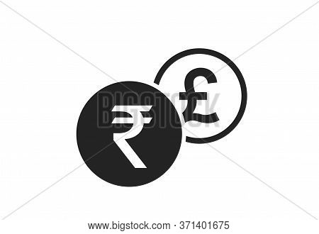 Indian Rupee To British Pound Currency Exchange Icon. Money Exchange And Banking Transfer Symbol
