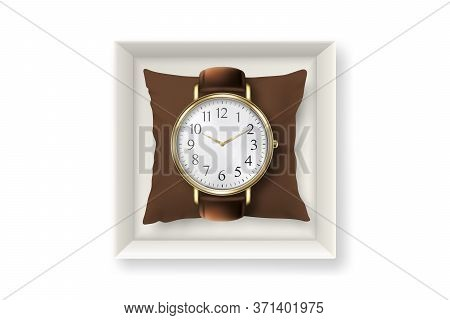 3d Vector Realistic Golden Classic Vintage Unisex Wrist Watch With Roman Numerals In Paper Box Icon
