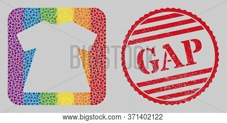 Distress Gap Stamp Seal And Mosaic Lady Dress Subtracted For Lgbt. Dotted Rounded Rectangle Mosaic I