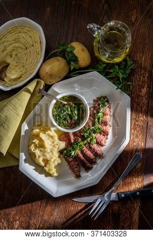Juicy Rare Chimichurri Verde Grilled Steak And Mashed Potatoes