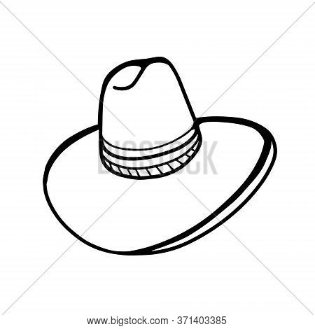 Straw Hat With A Wide Brim Isolated On A White Background. Hat. A Doodle-style Cowboy Hat. Vector Il