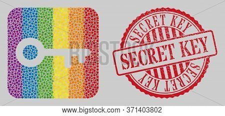 Distress Secret Key Stamp And Mosaic Key Subtracted For Lgbt. Dotted Rounded Rectangle Mosaic Is Aro