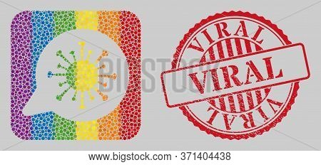Distress Viral Stamp And Mosaic Viral Message Subtracted For Lgbt. Dotted Rounded Rectangle Mosaic I
