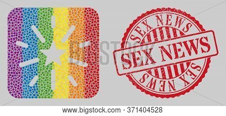 Grunge Sex News Seal And Mosaic Shine Star Subtracted For Lgbt. Dotted Rounded Rectangle Mosaic Is A