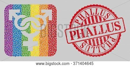 Grunge Phallus Stamp Seal And Mosaic Polyandry Symbol Hole For Lgbt. Dotted Rounded Rectangle Collag