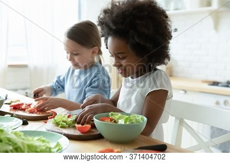 Multiracial Little Girls Best Friends Cooking Together In Kitchen