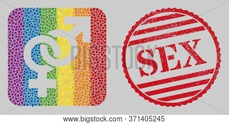 Scratched Sex Stamp Seal And Mosaic Straight Sex Symbol Hole For Lgbt. Dotted Rounded Rectangle Mosa