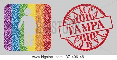 Grunge Tampa Stamp Seal And Mosaic Third Gender Stencil For Lgbt. Dotted Rounded Rectangle Mosaic Is