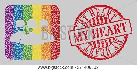 Grunge My Heart Seal And Mosaic Mask People Group Hole For Lgbt. Dotted Rounded Rectangle Collage Is