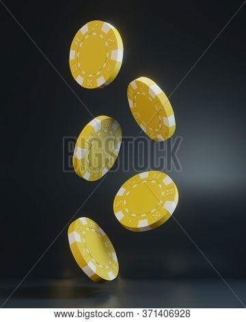Casino Chips Falling On The Black Background. Casino Game 3d Chips. Online Casino Banner. Yellow Chi