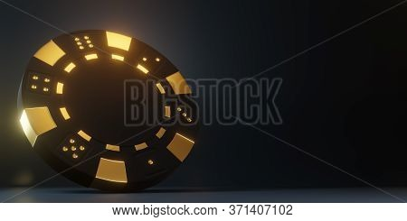 Casino Chips Isolated On The Black Background. Casino Game 3d Chips. Online Casino Banner. Black Chi