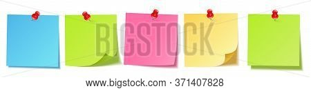 Realistic Blank Sticky Notes Isolated On White Background. Colorful Sheets Of Note Papers With Push
