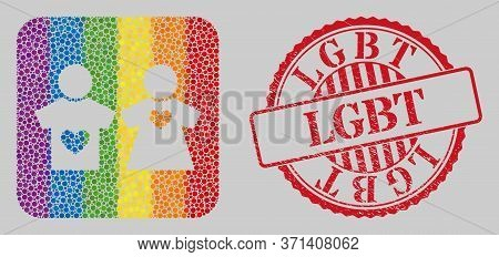 Distress Lgbt Stamp And Mosaic Lovers Pair Stencil For Lgbt. Dotted Rounded Rectangle Mosaic Is Arou
