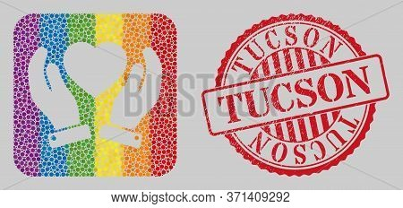 Scratched Tucson Stamp Seal And Mosaic Valentine Heart Care Hands Subtracted For Lgbt. Dotted Rounde