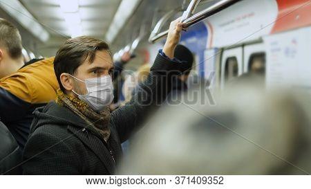 Man Standing. Corona Virus. Face Mask Covid-19. Subway Station. Epidemic Coronavirus Mers. Pandemic