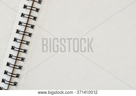 Spiral Bound Notepad, Open Blank, Clean Page, Empty Space, Background, Copy Space
