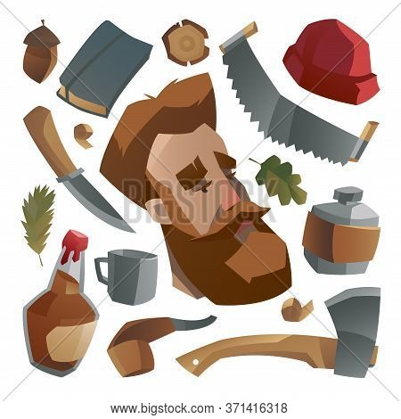 Lumberjack With Ginger Beard And His Stuff. Collection Of Lumberjack Things And Work Tools. Element,