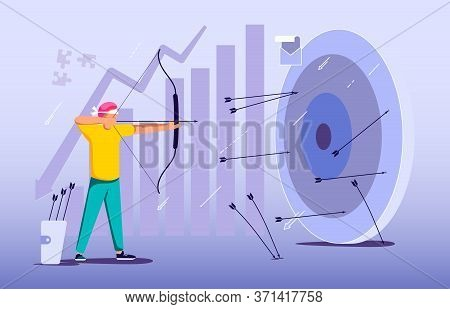 Blindfold Businessman Aiming From A Bow. Wrong Business Goal Solution, Miss Target, Hit Off The Mark