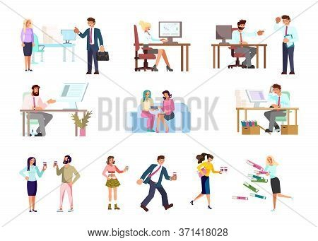 Set Of Business People. Men And Women Have A  Coffee Break, Meeting, Busy At Work. Flat Art Vector I
